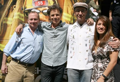 Screenwriter Michael Colleary with actor Bruce Greenwood and screenwriters Mike Werb and Claire Dee Lim.